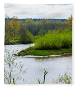 Nisqually River From The Nisqually National Wildlife Refuge Fleece Blanket