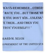 Nixon Quote In Cyan Fleece Blanket