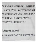 Nixon Quote  Fleece Blanket