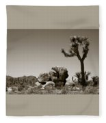 Joshua Tree National Park Landscape No 4 In Sepia  Fleece Blanket