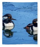 Male Hooded Merganser Pair Fleece Blanket