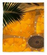 Sunshine Yellow Silk Decor With Stars Fleece Blanket