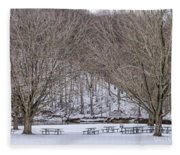 Snowy Picnic Ground In Winter Fleece Blanket
