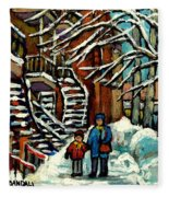 No School Today Out For A Snowy Walk Verdun Winter Winding Staircases Montreal Paintings C Spandau Fleece Blanket