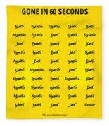 No032 My Gone In 60 Seconds Minimal Movie Poster Fleece Blanket