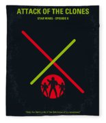 No224 My Star Wars Episode II Attack Of The Clones Minimal Movie Poster Fleece Blanket