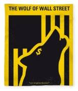 No338 My Wolf Of Wallstreet Minimal Movie Poster Fleece Blanket