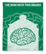 No390 My The Man With Two Brains Minimal Movie Poster Fleece Blanket