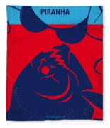 No433 My Piranha Minimal Movie Poster Fleece Blanket