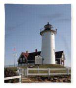 Nobska Lighthouse On Cape Cod At Woods Hole Massachusetts Fleece Blanket