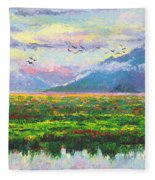 Nomad - Alaska Landscape With Joe Redington's Boat In Knik Alaska Fleece Blanket