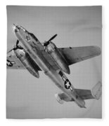 North American B-25 Mitchell Bw Fleece Blanket