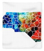 North Carolina - Colorful Wall Map By Sharon Cummings Fleece Blanket