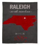 North Carolina State University Wolfpack Raleigh College Town State Map Poster Series No 077 Fleece Blanket