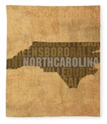 North Carolina Word Art State Map On Canvas Fleece Blanket by Design Turnpike