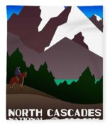 North Cascades National Park Vintage Poster Fleece Blanket