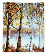North Country Lake Superior Birch Trees Early Autumn Fleece Blanket