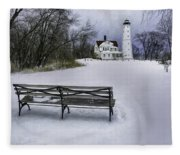 North Point Lighthouse And Bench Fleece Blanket