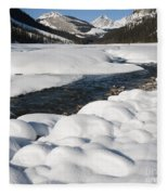 North Saskatchewan River In Winter Fleece Blanket