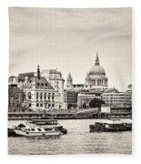 North Side Of The Thames Bw Fleece Blanket