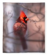 Northern Cardinal Dominent Male Fleece Blanket