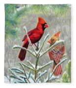 Northern Cardinals Fleece Blanket