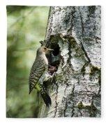 Northern Flicker Nest Fleece Blanket