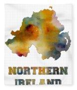 Northern Ireland Watercolor  Map Fleece Blanket