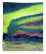 Northern Lights On Superior Shores Fleece Blanket