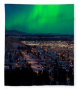 Northern Lights Over Whitehorse Fleece Blanket