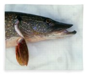 Northern Pike Fish On Snow, Close Fleece Blanket