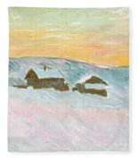 Norwegian Landscape, Blue Houses, 1895 Fleece Blanket
