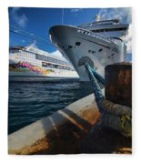 Norwegian Sky Carnival Sensation And Royal Caribbean Majesty Fleece Blanket