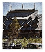 Nostalgia Old Faithful Inn By Cathy Anderson Fleece Blanket