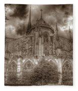 Notre Dame From East Garden Fleece Blanket