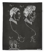 Novelty Wig Patent Artwork Gray Fleece Blanket