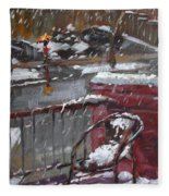 First Snowfall Nov 17 2014 Fleece Blanket