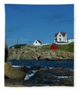 Nubble Light House York Beach Maine Fleece Blanket