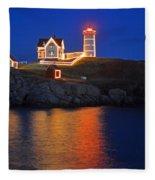 Nubble Light In York Me Cape Neddick Christmas Blue Sky Fleece Blanket