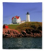 Nubble Lighthouse-cape Neddick Fleece Blanket