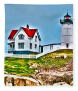 Nubble Lighthouse Cape Neddick Maine 2 Fleece Blanket