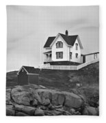 Nubble Lighthouse Cape Neddick Maine Black And White Fleece Blanket