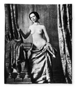 Nude And Curtains, C1850 Fleece Blanket
