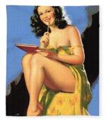 Nude Brunette II Fleece Blanket