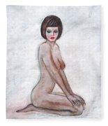 Nude In The White Room Fleece Blanket