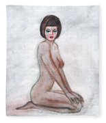 Nude In The White Room Fleece Blanket