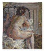 Nude On A Bed, C.1914 Fleece Blanket