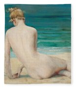 Nude Seated On The Shore Fleece Blanket