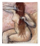 Nude Seated Woman Arranging Her Hair Femme Nu Assise Se Coiffant Fleece Blanket