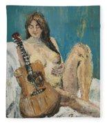 Nude With Guitar Fleece Blanket